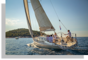 Sailing in front of Old Town and near Lokrum island